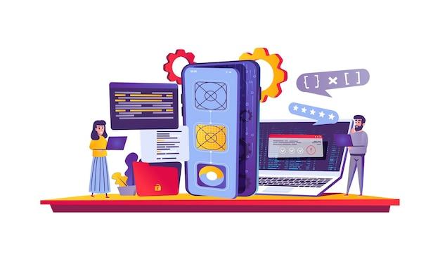 Conceito de web de desenvolvimento de aplicativos em estilo cartoon