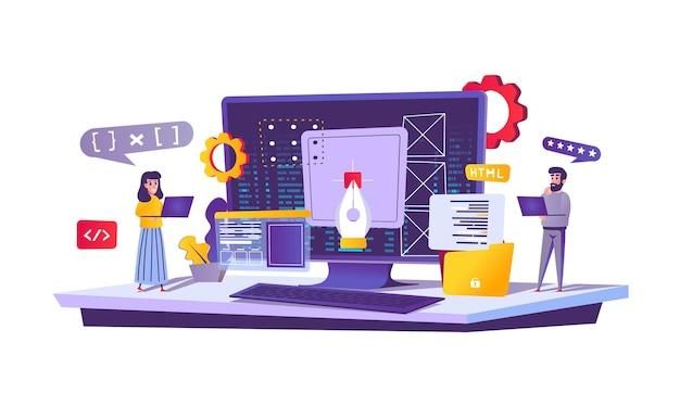 Conceito de web de desenvolvimento web em estilo cartoon