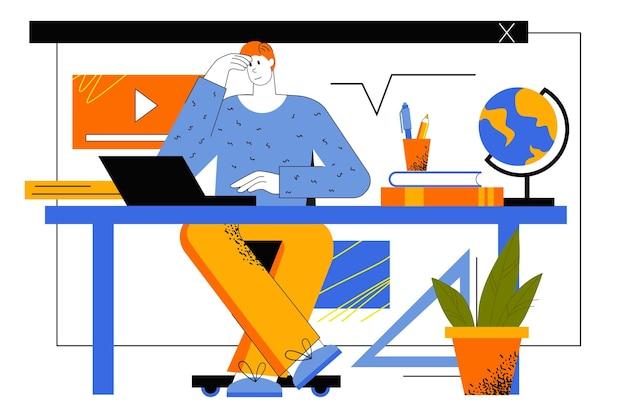 Conceito de web de educação online. o aluno estuda remotamente usando um laptop. o homem assiste a videoaulas, cursos de aprendizagem e treinamentos em casa.