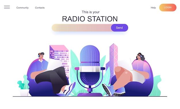 Conceito de web de estação de rádio para página de destino