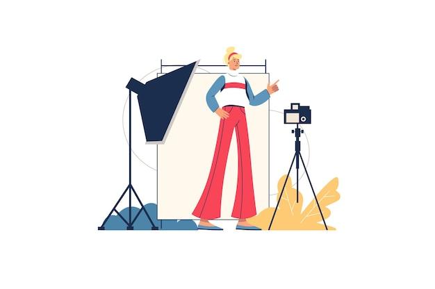Conceito de web de estúdio fotográfico. o fotógrafo tira fotos em uma sala com iluminação e equipamentos especiais. modelo posando no estúdio, cena mínima de pessoas. ilustração vetorial em design plano para site