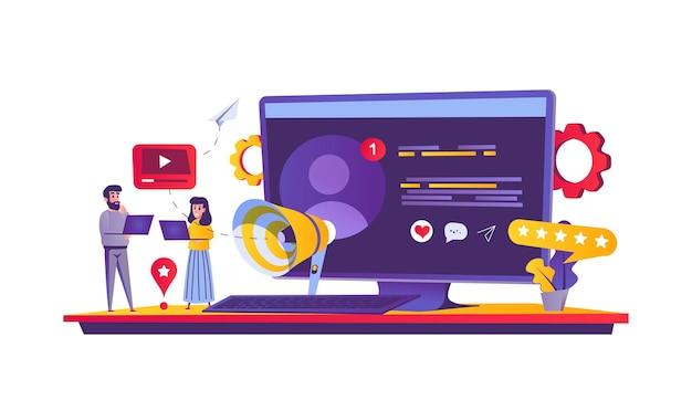 Conceito de web de marketing social em estilo cartoon