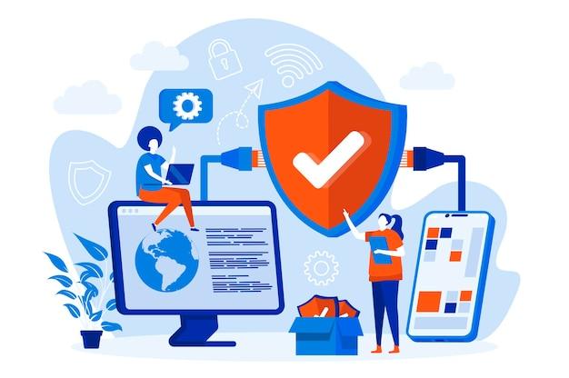 Conceito de web de segurança de rede com ilustração de personagens de pessoas