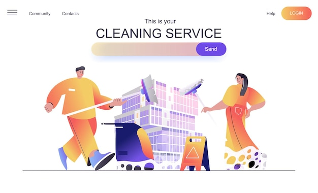 Conceito de web de serviço de limpeza para página de destino