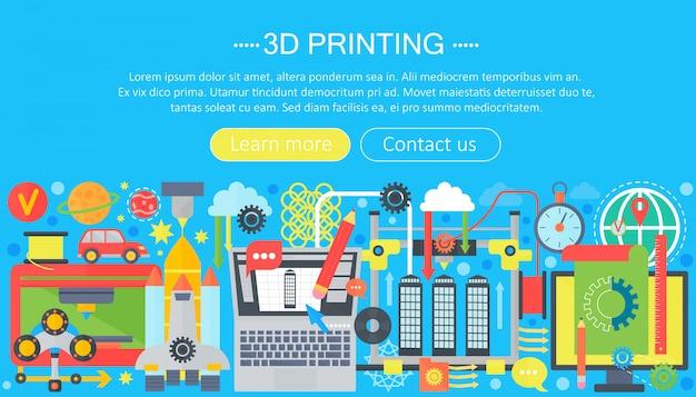 Conceito de web de tecnologia de impressora 3d