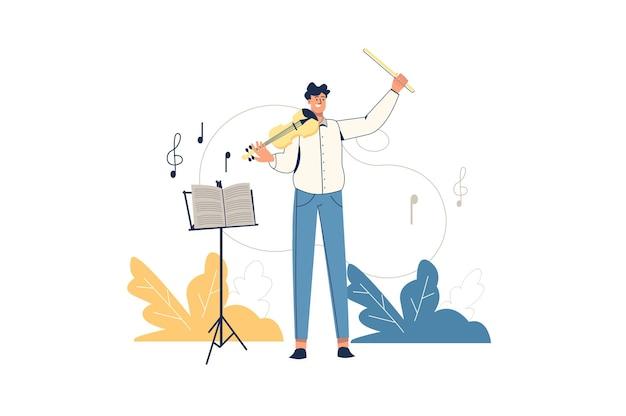 Conceito de web de trabalhadores criativos. violinista músico se apresenta no palco. o homem toca violino, compõe música ou trabalha em orquestra, um passatempo minimalista na cena de pessoas. ilustração vetorial em design plano para site