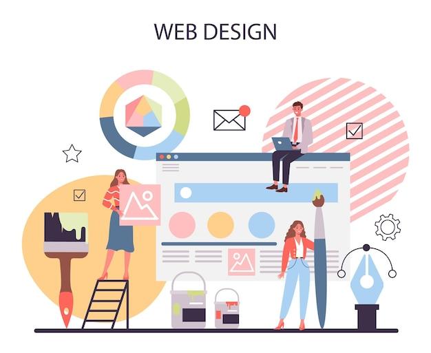 Conceito de web design apresentação de conteúdo em páginas da web