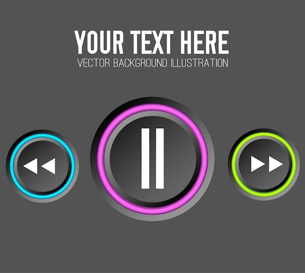 Conceito de web design de música com botões redondos de controle e bordas coloridas