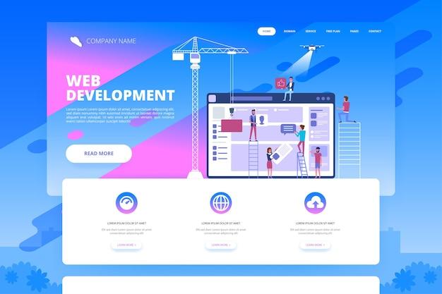 Conceito de web design e desenvolvimento de aplicativos com computador e equipe de jovens