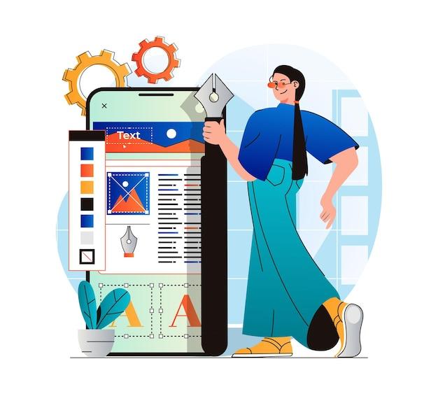 Conceito de web design em design plano moderno mulher designer cria layout de interface para celular