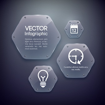 Conceito de web design infográfico com ícones e hexágonos de vidro