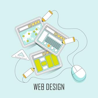 Conceito de web design: página da web e elementos de design em estilo de linha