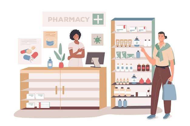 Conceito de web do consultório médico. comprador em pé na farmácia, remédios nas prateleiras, farmacêutico consulta o paciente, receita médica