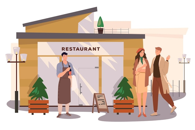 Conceito de web do edifício do restaurante. casal vai jantar no café, o garçom está segurando uma garrafa de vinho. homem e mulher namorando