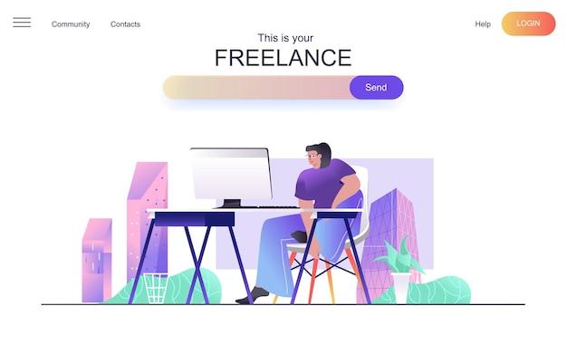 Conceito de web freelance para página de destino