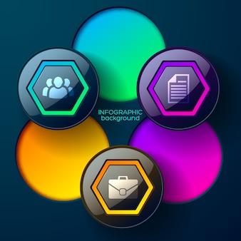 Conceito de web infográfico abstrato com ícones e círculos de hexágonos brilhantes coloridos isolados
