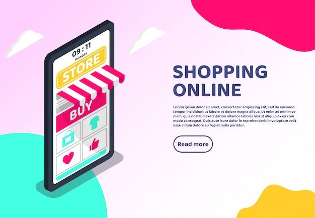 Conceito de web isométrica on-line de compras. marketing digital grande smartphone