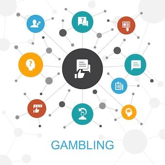Conceito de web moderno de jogos de azar com ícones. contém ícones como roleta, cassino, dinheiro, cassino online