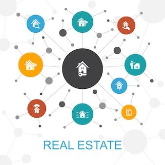 Conceito de web na moda de imóveis com ícones. contém ícones como propriedade, corretor de imóveis, localização, propriedade à venda
