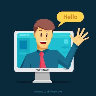 Conceito de webinar com homem no computador