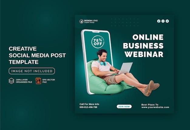Conceito de webinar de negócios on-line anúncio de banner no instagram modelo de postagem em mídia social