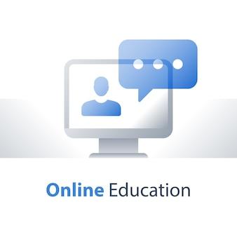 Conceito de webinar, educação online, palestra na web, aconselhamento e orientação