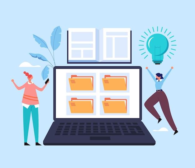 Conceito de webinar tutorial digital de seminário educacional de aprendizagem na web.