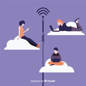 Conceito de wifi plana