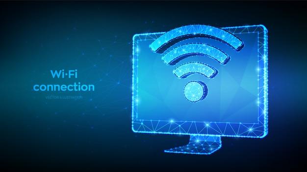 Conceito de wifi sem fio de conexão sem fio. resumo 3d baixo monitor de computador poligonal com sinal de wi-fi. símbolo de sinal de ponto ativo.