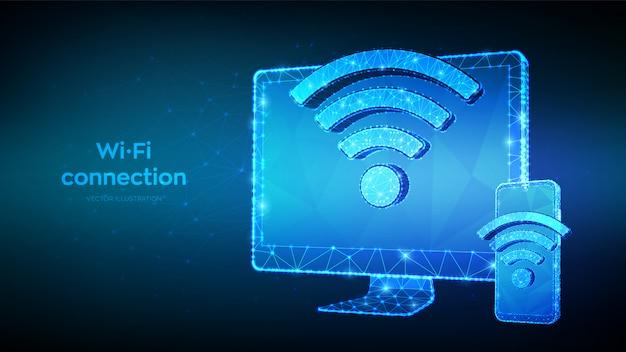 Conceito de wifi sem fio de conexão sem fio. resumo baixo monitor de computador poligonal e smartphone com sinal wi-fi. símbolo de sinal de ponto ativo.