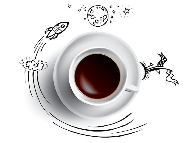 Conceito de xícara de café - caneca de café quente com espaço e ciência doodle infográficos. foguete, planeta e terra com pausa para café
