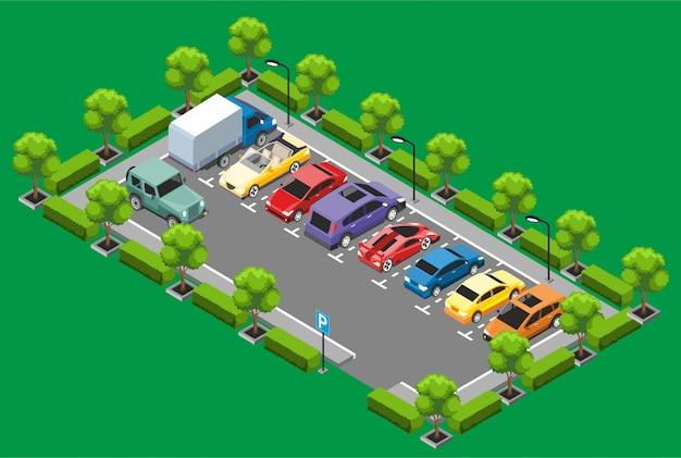 Conceito de zona de estacionamento isométrica