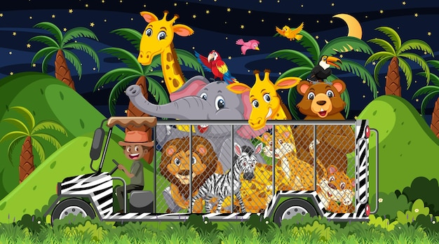 Conceito de zoológico com grupo de animais selvagens no carro gaiola