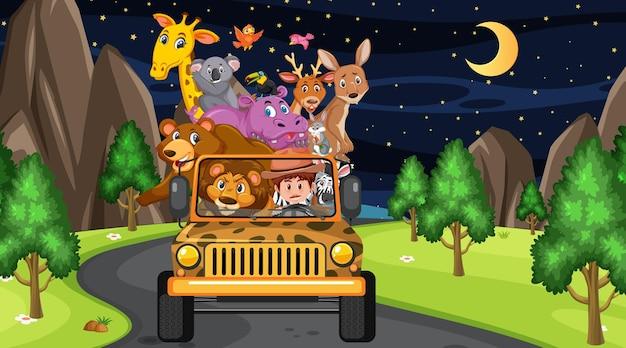 Conceito de zoológico com grupo de animais selvagens no carro jipe