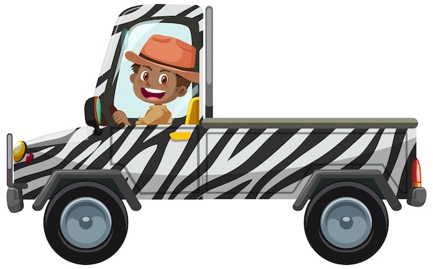 Conceito de zoológico com motorista dirigindo carro pick-up isolado