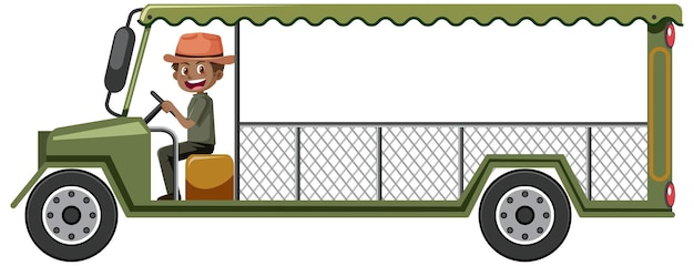 Conceito de zoológico com motorista dirigindo carro safári isolado