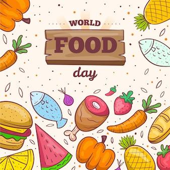 Conceito desenhado à mão do dia mundial da comida