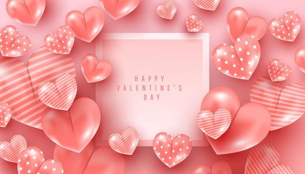Conceito dia dos namorados decoração 3d bonita da forma do coração do teste padrão voa no ar no rosa