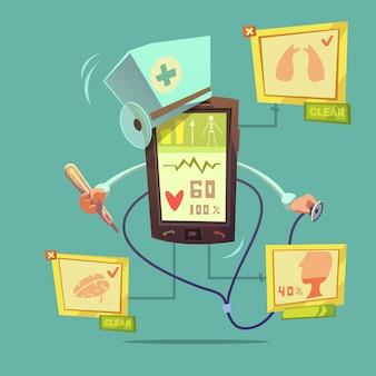 Conceito diagnóstico móvel da saúde em linha