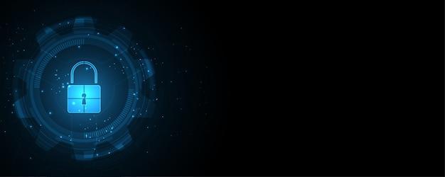 Conceito digital cibernético de segurança de cadeado, fundo abstrato de tecnologia para proteger a inovação do sistema
