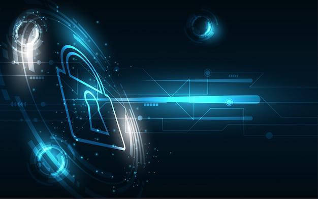 Conceito digital de segurança cyber fundo abstrato de tecnologia proteger a inovação do sistema
