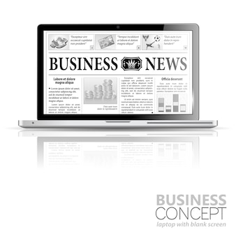 Conceito - digital news. laptop com notícias de negócios
