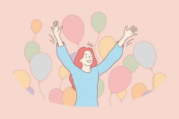 Conceito divertido de alegria de feriado de celebração de sucesso