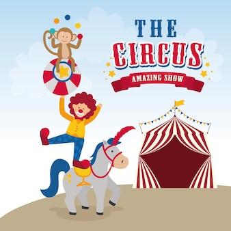 Conceito do circo com projeto do ícone do carnaval, gráfico do eps da ilustração 10 do vetor.