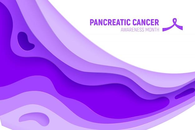 Conceito do corte do papel do mês da conscientização do câncer de pâncreas. papel arte fita roxa - cuidados de saúde de novembro. campanha internacional de saúde para pessoas.