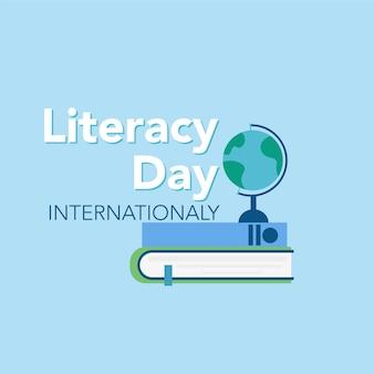 Conceito do dia da alfabetização livros e gráficos vetoriais de inscrição