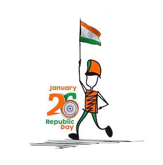 Conceito do dia da república de 26 de janeiro, um menino com a mão segurando a bandeira da índia