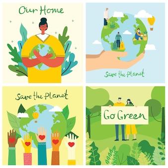 Conceito do dia da terra. mãos humanas segurando um globo flutuante no espaço. salve nosso planeta.