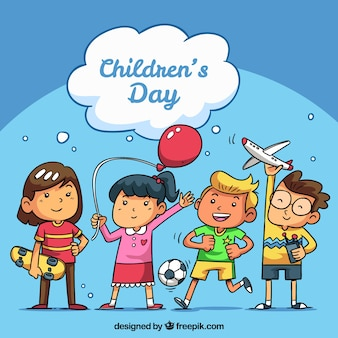 Conceito do dia das crianças com crianças felizes