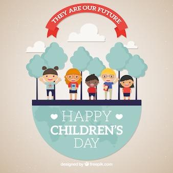 Conceito do dia das crianças com terra e árvores